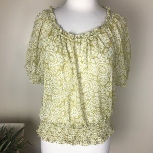 PRICE DROP* Michael Kors Sheer Mustard Blouse